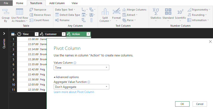 Select the source for the new column values
