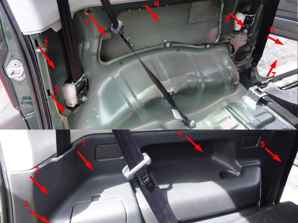 The side panel is fixed using pressure clips. To realese it you'll need to pull out following the numbered order indicated in the photo. Be careful with the part that is close to the doorway. Don't use any tools, they can damage the panel. After the panel was removed, some clips may be stuck in the car body. Take them out and place in the trim.