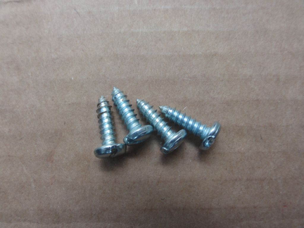 Metal sheet screws 3mm x 10mm. It's not necessary to use more than two screws per speaker.