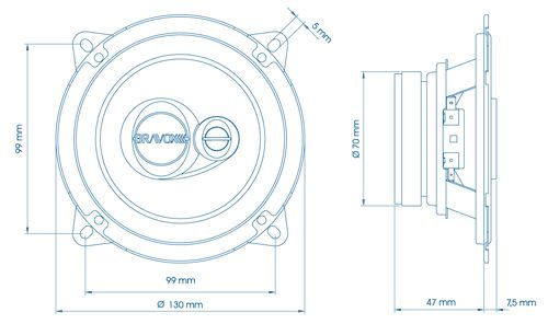 Dimensions of the installed speaker. The holes that fitted the car were the inner ones, located about 10mm from external holes.