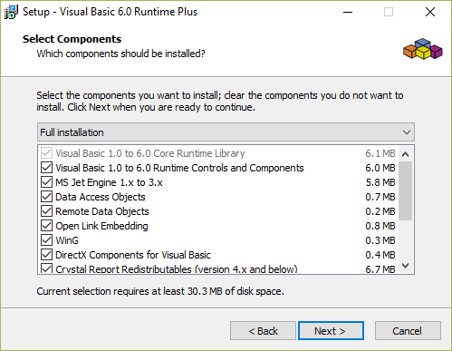 Select all options for the VB Runtime Plus installer